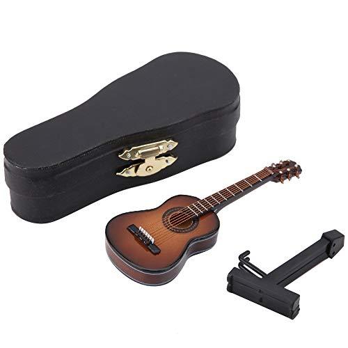 Mini Gitarre - Gitarren-Dekor Miniatur Modell Gitarre aus Holz mit Ständer und Koffer, Mini Musikinstrument für Miniatur Puppenhaus, Modell, Heimdekoration
