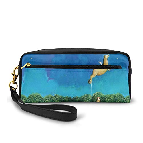 Pencil Case Pen Bag Pouch Stationary,Fine Art Girl And Flying Horse Paint,Small Makeup Bag Coin Purse