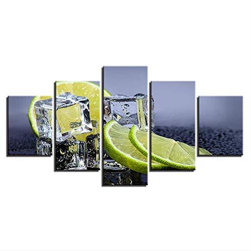 IWINO Hd Canvas Art Schilderen 5 Stuks Citroen Ice Cube Fruit Voedsel Print Poster Foto's Voor Keuken Eetkamer Muurdecoratie Maat 1 Zonder Frame