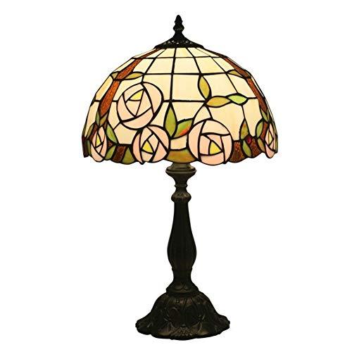 Zdfdfshj 12 Pouce Rose Lampe De Table Rétro Lampe De Chevet Style Européen Chambre Salon Étude Bar Western Restaurant Lampe De Table De Mariage (Color : Resin Base, Size : Push Button Switch)