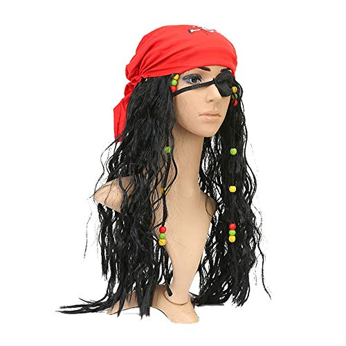 Pirates Caribbean Costume Jack Sparrow Mask Cosplay Adult Captain Pirate Headscarf Accessories Sets For Halloween Fancy Gift (Black Red)