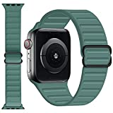 GZ GZHISY Stretchy Solo Loop Band Compatible for Apple Watch 38mm 40mm 42mm 44mm, Adjustable Elastic Silicone Sport Buckle Strap Women Men for iWatch Series 1/2/3/4/5/6/SE, Pine Green 38mm/40mm