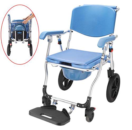 LQ&XL Medizinischer Transport Wc Rollstuhl - Toilettenstuhl, 4 in 1 Faltbar - Tragbar, Schwere Aluminiumleg