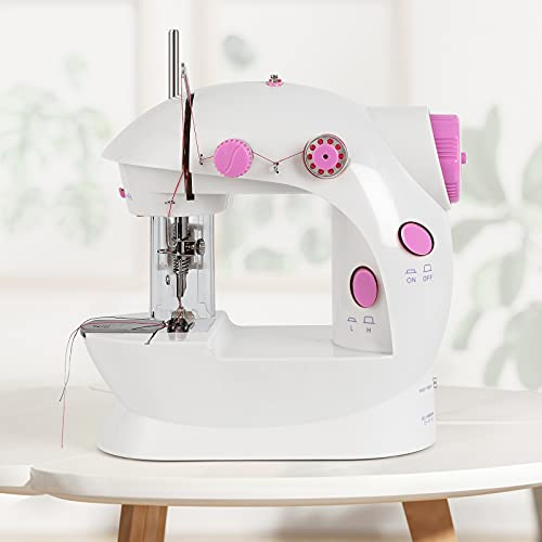 PinPon Mini Sewing Machine for Beginners, Double Thread Dual Speed Portable Sew...