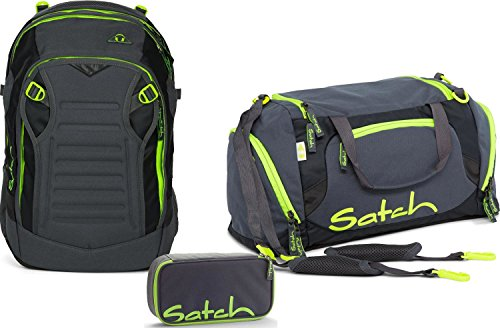 Satch Schulrucksack-Set 3-TLG Match Phantom grau