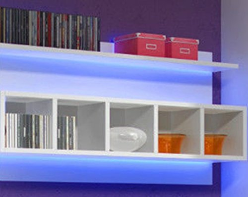 Wohnwand ELFANOSI Hochglanz mit LED-BELEUCHTUNG WEIß - 4