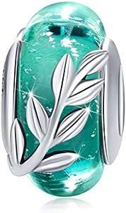 Abalorio de plata de ley 925 adecuados para cadena de serpiente o pulsera, color negro, cuenta de cristal de Murano, regalo para mujeres, cumpleaños, joyería Estilo 4.