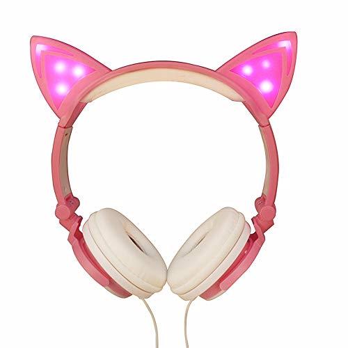 Gaddrt Kopfhörer Faltbare Katze Ohr LED Musik Lichter Kopfhörer Kopfhörer Headset für Laptop MP3 (C)