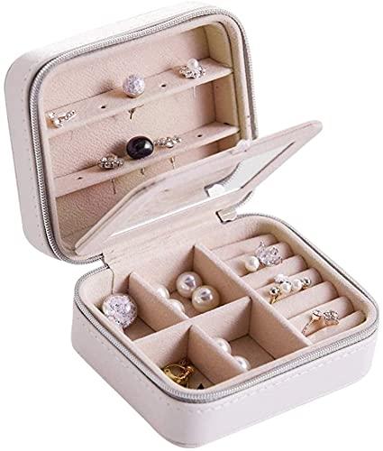 OH Caja de Joyería Funda de Alenamiento de Joyas Portátiles para Collares Pulseras Pendientes Anillos Joyería de Viaje Caja Organizador Mostrar Caja de Alenamiento Moda/Blanco / 1
