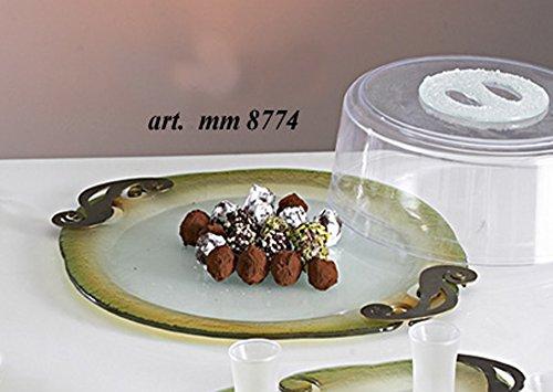 Vassoio centrotavola portafrutta in vetro a lastra decorato e finiture in metallo