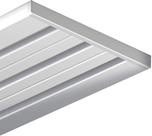 Garduna 240cm 4/3-lauf Gardinenschiene Vorhangschiene, Aluminium, Weiss, Glatte, glänzende Oberfläche, 4-läufig oder 3-läufig (Flächenvorhangschiene/Wendeschiene)