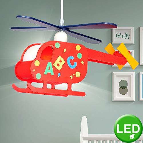 Kinder Pendel Hänge Decken Hubschrauber Lampe im Set inkl. 7 Watt LED-Leuchtmittel