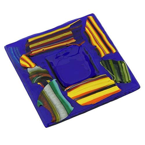 GlassOfVenice Assiette décorative carrée en verre de Murano - Noir