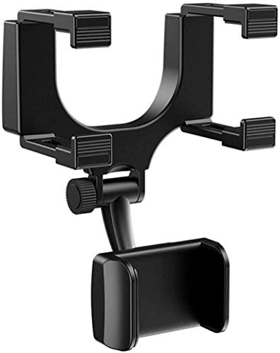 CEUTA Anti Shake & Fall Prevention 360 Degree Rotation Adjustable Anti Vibration Car Phone Holder for Rear View Mirror Mount Stand - Supports Mobile Up to 6.5 inch Smartphones
