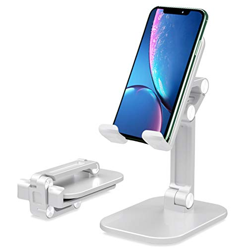 Cell Phone Stand, Angle Height Adjustable Cell Phone Stand for Desk, Fully Foldable Cell Phone Holder, Tablet Stand, Case Compatible with All Mobile Phone/iPad/Kindle/Tablet - White