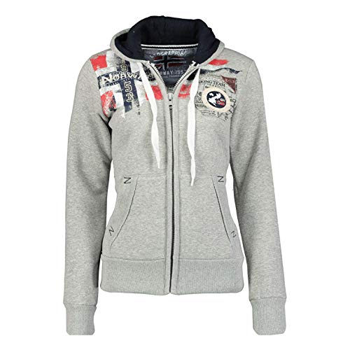 Geographical Norway FESPOTE Lady - Sweat Femme Capuche Grande Poches Kangourou - Sweatshirt Femmes Manche Longue Pull Casual Manches Longues Chaud - Hoodie Veste Tops Sport Taille (Gris M)