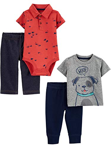 Simple Joys by Carter's 4-Piece Bodysuit, Top, Pant Set Infant-and-Toddler-Pants-Clothing-Sets, Perro/construcción, 0-3 Meses, Pack de 4