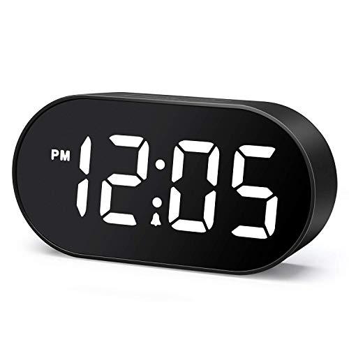 Plumeet Despertador Electrónico, Reloj Despertador LED con Atenuador y 2 Niveles de Volumen, Despertador Digital de Cabecera con Interfaz USB y Fácil de Usar (Blanco)