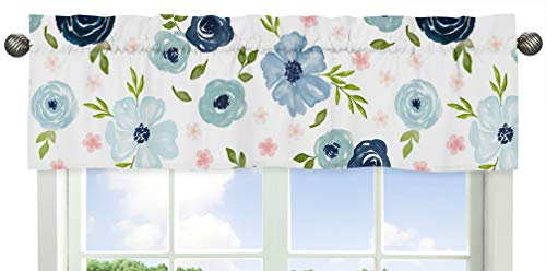 Sweet Jojo Designs Navy Blue and Pink Watercolor Floral Window Treatment Valance - Blush, Green and White Shabby Chic Rose Flower