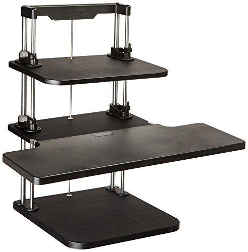 Pyle Sit Stand Desk, Height Adjustable Stand Up Desk, Computer/ Laptop Stand Up Computer Workstation W/2 Adjustable Shelf Trays, Free Standing Desk - Black Finish (PSTNDDSK36)