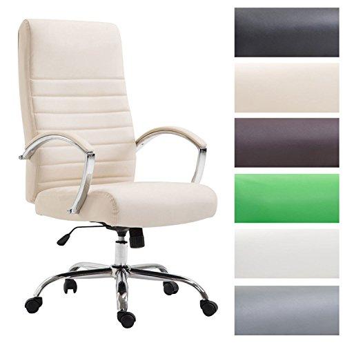 CLP Bürostuhl XL VALAIS mit Kunstlederbezug, Chefsessel, Drehstuhl mit Armlehnen, Bürodrehstuhl mit hochwertige Polsterung, max. Belastbarkeit 136 kg, Creme