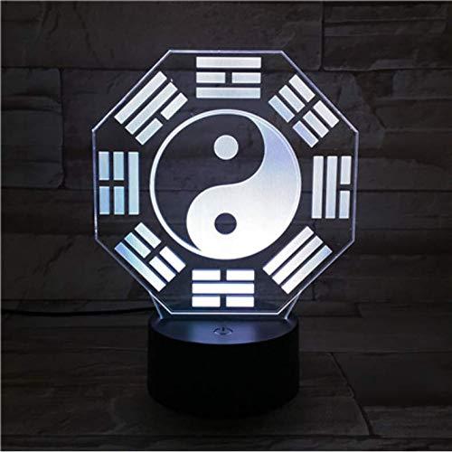 3D led ilusión lámpara Ocho TrigramasLuz Nocturna Sensor Táctil RGB Lámpara Decorativa Niño Niños Cultura China Bagua Pa Kua Lámpara de escritorio junto a la cama