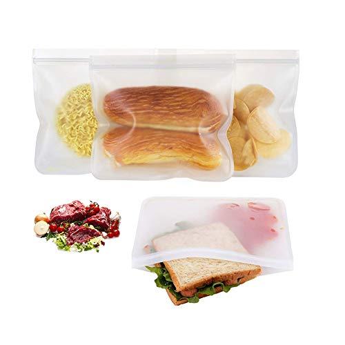 MUYIER Wiederverwendbare Food Storage Bag 3Pcs, Airtight Seal Lebensmittelkonservierung Tasche - Wiederverwendbarer Produce Beutel Für Gemüse Flüssig Snack Fleisch Sandwich