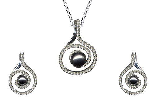 Juego de joyas de estilo modernista con perlas grises Art Nouveau de plata de ley 925, pendientes + cadena + colgante, collar con colgante, cadena de plata, colgante de plata, pendientes de circonita