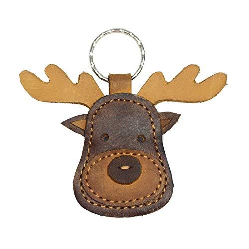 Llavero de piel con diseño de alce de Ocultar y beber, adorno de animales de peluche, vida silvestre, hecho a mano, color marrón