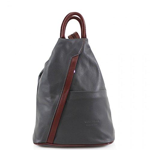 Ladies Girls Soft Vera Pele Italian Leather Rucksacks Women Backpacks Gym School Bags (Grey/brown)