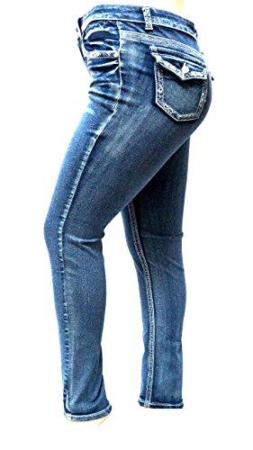 Jack David Women's Plus Size Blue/Black Curvy Stretch Flap Pocket Skinny/Bootcut Denim Jeans Pants (20, N595B- Acid Wash Blue Skinny Jeans)