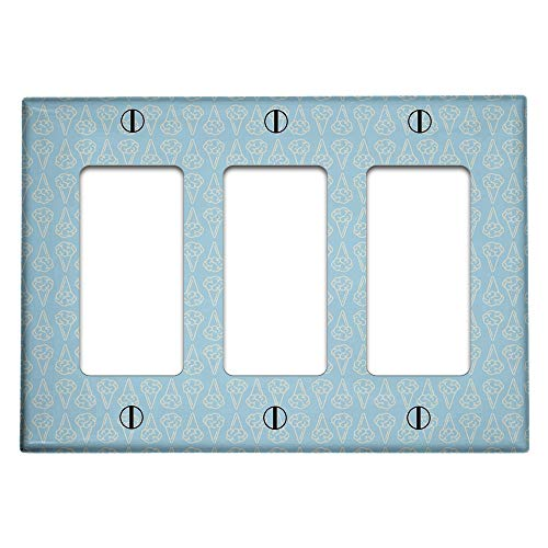 Triple 3 Gang Rocker (Decora/GFCI Device) Decorative Switch Wall Plate Cover (Brain Ice Cream Pattern)