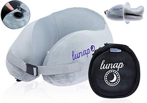 Nackenkissen 2 in 1 - Memory Schaum und aufblasbares Nackenpolster in einem | Nackenhörnchen weich und stützend | Reisepolster Auto + Flugzeug Schlafkissen | Kissen zum fliegen + Powernapping