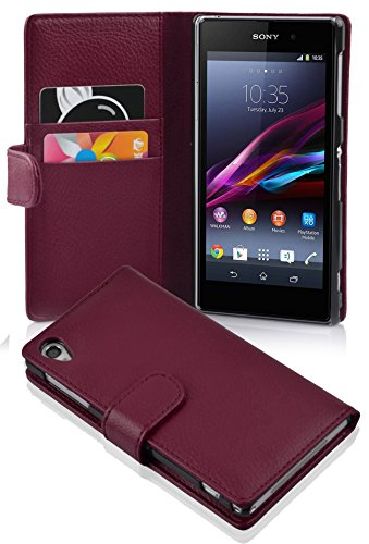 Cadorabo Hülle für Sony Xperia Z1 - Hülle in Bordeaux LILA – Handyhülle mit Kartenfach aus struktriertem Kunstleder - Hülle Cover Schutzhülle Etui Tasche Book Klapp Style