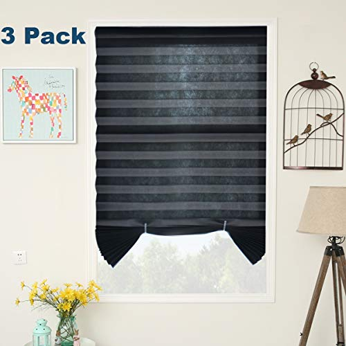 SUNFREE 3 Pack Black Temporary Shades Cordless Blinds Fabric Room Darkening Pleated Window Shades Easy to Cut and Install 48' Wx72 H, 3-Pack