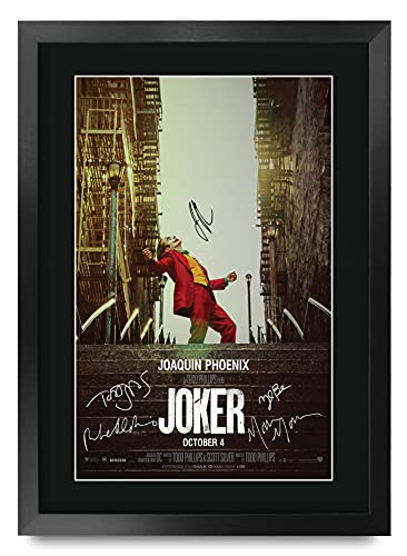 HWC Trading - Poster Stampato del Film Joker con Foto autografata dal Cast, Joaquin Phoenix, Zazie Beetz, Marc Maron, Todd Phillips, per i Fan del Film – Formato A3 incorniciato