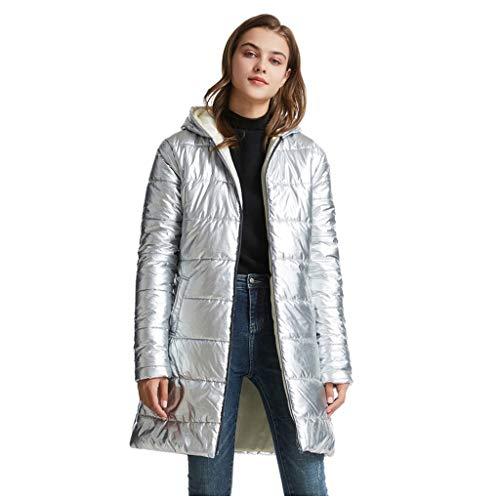 Artistic9 Damen Daunenjacke mit Kapuze Langarm Reißverschluss Wasserdicht Leichte Pufferjacke Winter Warmer Parka Oberbekleidung Mantel Silber XL