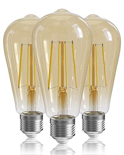 Paquete de 3 Bombillas E27 Regulables, Bombillas LED E27 Vintage, 6 W (Equivalente a 60 W), Blanco cálido de 2700 K, 600 LM, Bombilla Vintage ST64, Bombillas de filamento LED E27 [Clase energética A