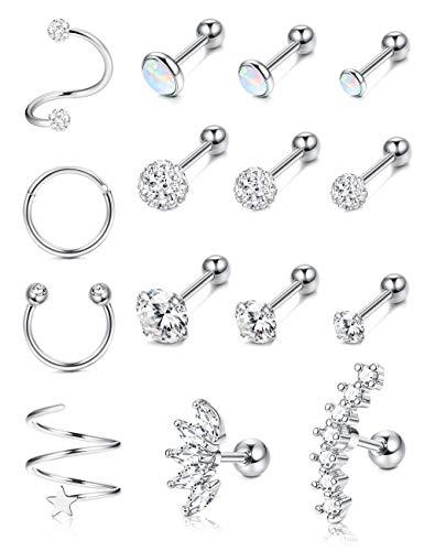 IRONBOX 16G Cartilage Earrings for Women Stainless Steel Conch Piercing Jewelry Helix Earrings Tragus Jewelry 15Pcs