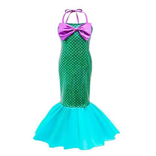 MAOMAFG Abito da Principessa Halloween Mermaid, Vestiti dalle Ragazze, Bambini Si Vestono I Bambini Si Vestono,Halloween Costume Cosplay per Bambina Pagliaccetto Cappello Abiti Clothes