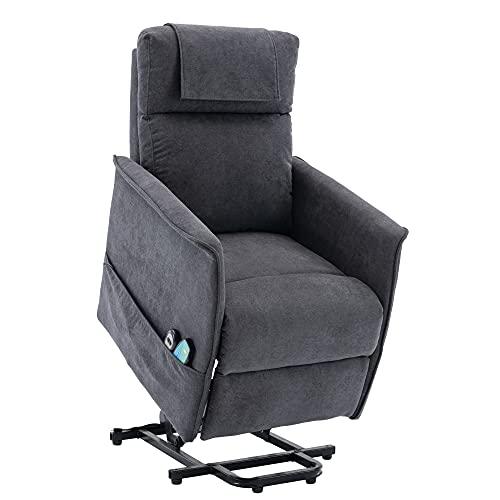 HOMOPIV Elektrischer Fernsehsessel Relaxsessel mit Aufstehhilfe Liegefunktion Wärmefunktion Massagesessel mit Fernbedienung, Stoff, grau