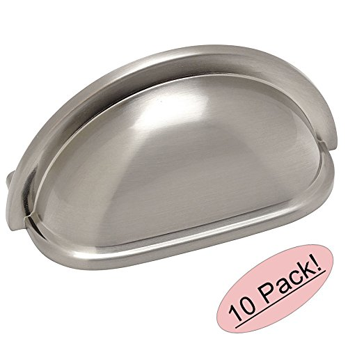 10 Pack - Cosmas 4310SN Satin Nickel Cabinet Hardware Bin Cup Drawer Handle Pull - 3' Inch (76mm) Hole Centers