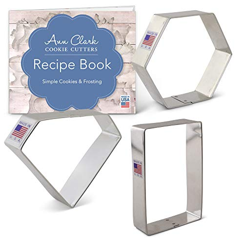 Ann Clark Cookie Cutters 3-Piece Geometric Shapes Cookie Cutter Set with Recipe Booklet, Rectangle, Hexagon, Gem