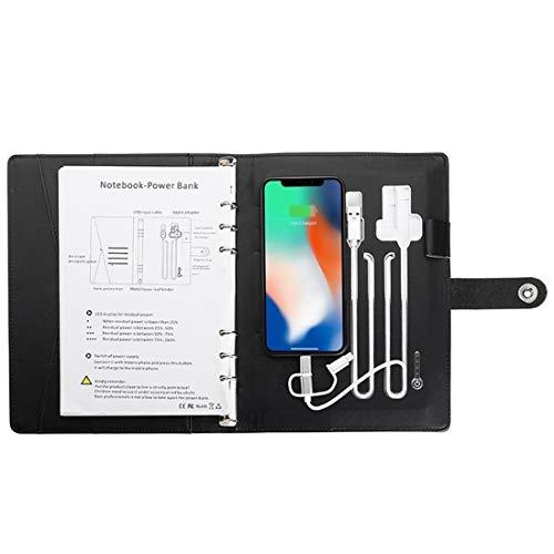 FHQCU Multifuncional A5 Power Book Business Note Book 8000 MAh Power Bank Qi Cuaderno de Notas de Carga inalámbrica Planificador Diario,16g USB
