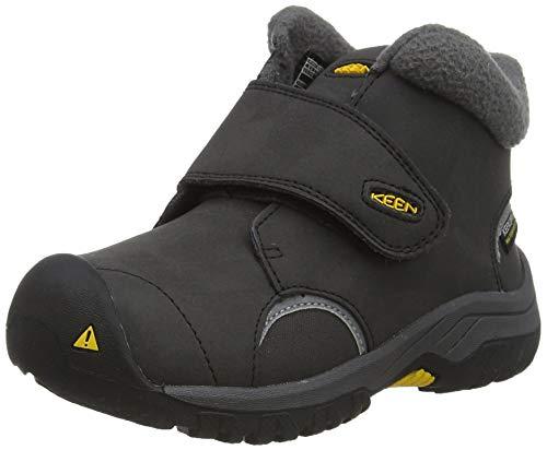 KEEN unisex child Kootenay 3 Mid Waterproof Hiking Boot, Black/Keen Yellow, 8 Little Kid US