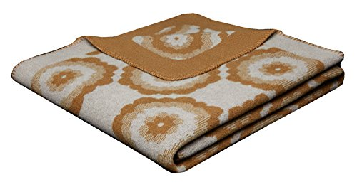 biederlack Colour kuschelige Wolldecke-Kuscheldecke Lana Color-Pernot/Bianco aus 100% Wolle in beige-Wohndecke 150x200 cm-Made in Germany-Öko-Tex Standard 100