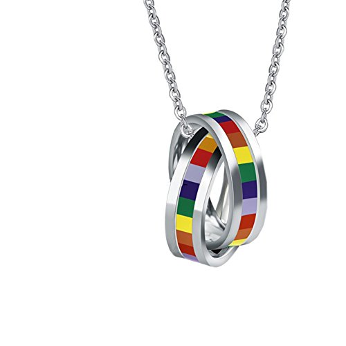 OAKKY GAY Pride Rainbow Double Cross Rings Pendant Necklace Lgbt Lesbian Flag with Chain Homosexual