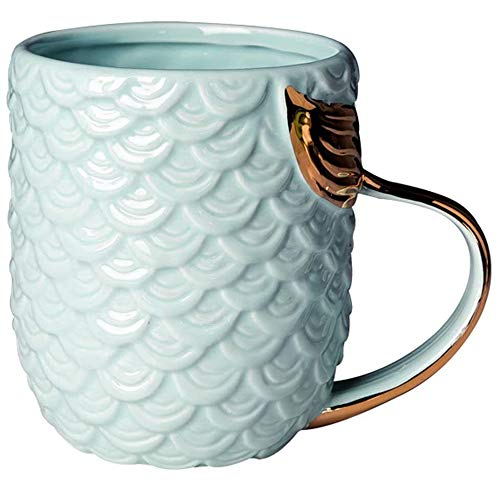 VANUODA Mermaid Coffee Mug, Ceramic Cup with Tail Handle, Presents for Women Mom Grandma Girls Wife Friend Her - Gift for Valentine's Mother's Day Christmas Birthday Bridal Engagement Wedding (Blue)