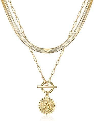 Gold Layered Necklaces for Women Letter A Initial Pendant Coin Necklace Paperclip Link Chain product image