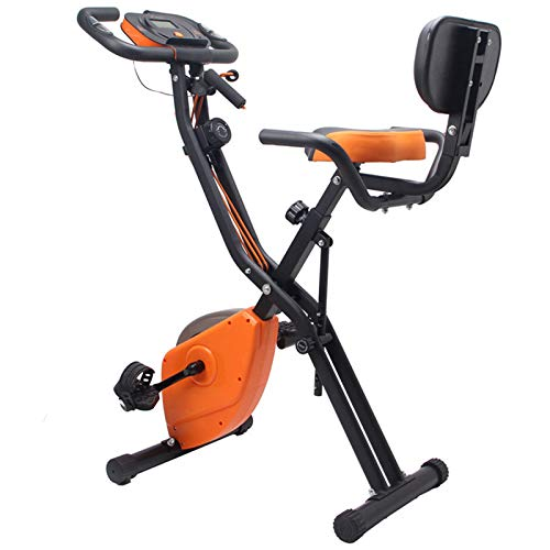 Bicicleta estática plegable Inicio Ciclismo Bicicleta X-Bike Magnetrón ultra silencioso Con pantalla LCD y medición de frecuencia cardíaca Entrenador brazos y entrenador piernas-Naranja 97*51*115cm